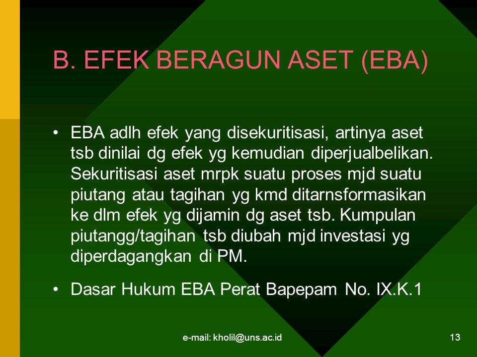 e-mail: kholil@uns.ac.id 13 B. EFEK BERAGUN ASET (EBA) EBA adlh efek yang disekuritisasi, artinya aset tsb dinilai dg efek yg kemudian diperjualbelika