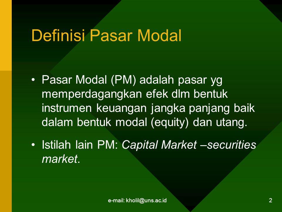 e-mail: kholil@uns.ac.id 2 Definisi Pasar Modal Pasar Modal (PM) adalah pasar yg memperdagangkan efek dlm bentuk instrumen keuangan jangka panjang bai