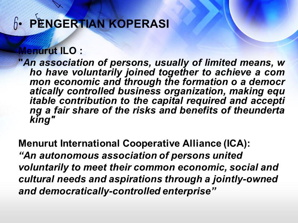 Dikeluarkan dalam konggresnya yang ke 100 di Manchester tahun 1995 Telah mengesahkan ICA Cooperative Indentity Statement (ICIS) Menurut UU RI No.