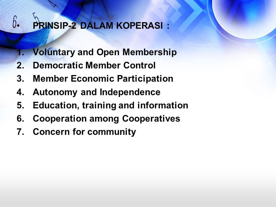 PRINSIP-2 DALAM KOPERASI : 1.Voluntary and Open Membership 2.Democratic Member Control 3.Member Economic Participation 4.Autonomy and Independence 5.E