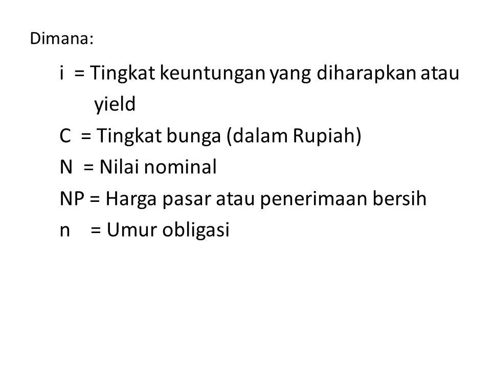 Dimana: i = Tingkat keuntungan yang diharapkan atau yield C = Tingkat bunga (dalam Rupiah) N = Nilai nominal NP = Harga pasar atau penerimaan bersih n = Umur obligasi
