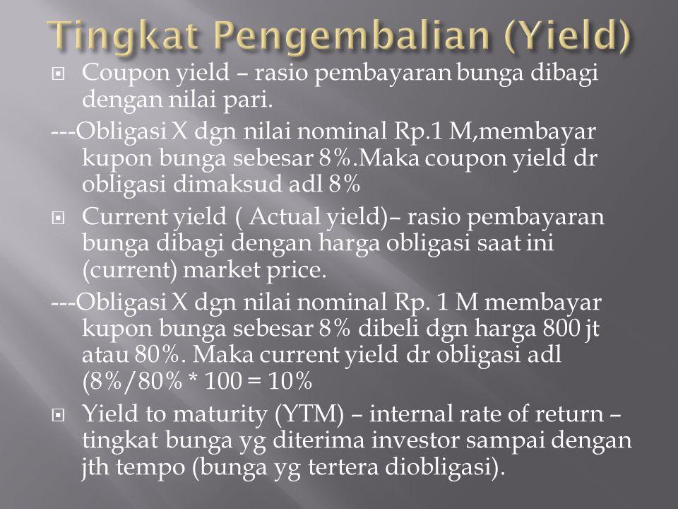  Coupon yield – rasio pembayaran bunga dibagi dengan nilai pari. ---Obligasi X dgn nilai nominal Rp.1 M,membayar kupon bunga sebesar 8%.Maka coupon y