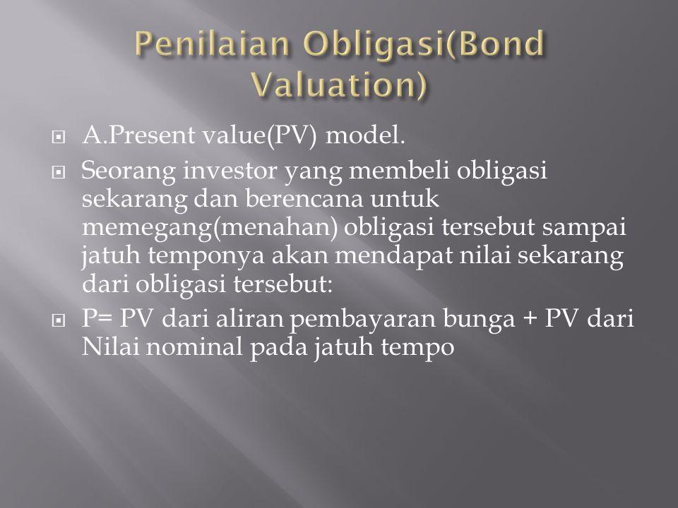  A.Present value(PV) model.  Seorang investor yang membeli obligasi sekarang dan berencana untuk memegang(menahan) obligasi tersebut sampai jatuh te