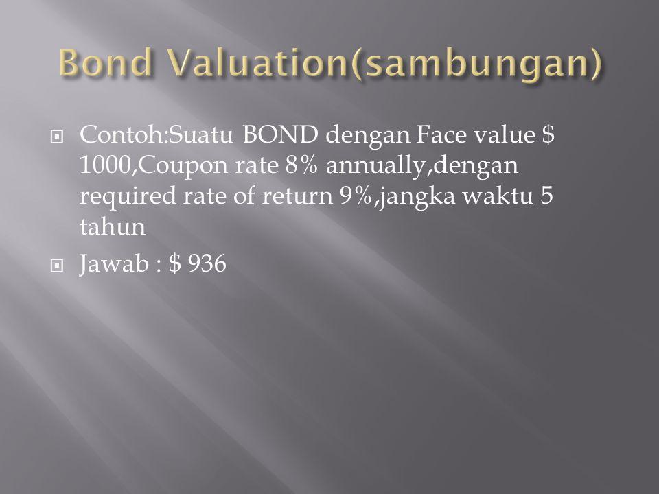  Contoh:Suatu BOND dengan Face value $ 1000,Coupon rate 8% annually,dengan required rate of return 9%,jangka waktu 5 tahun  Jawab : $ 936