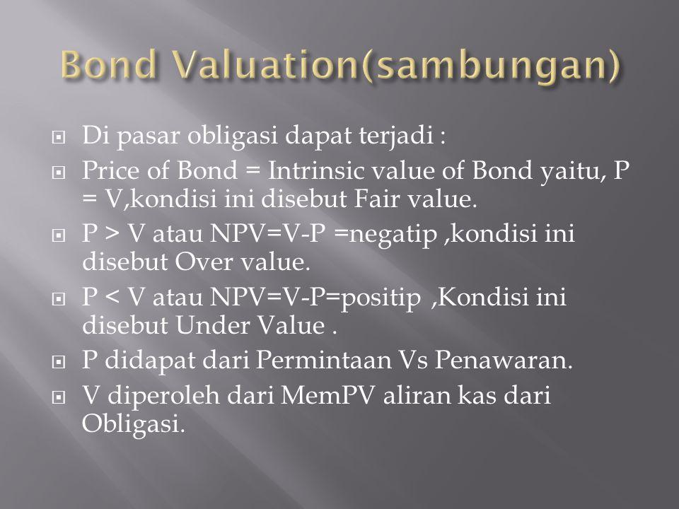  Di pasar obligasi dapat terjadi :  Price of Bond = Intrinsic value of Bond yaitu, P = V,kondisi ini disebut Fair value.  P > V atau NPV=V-P =negat