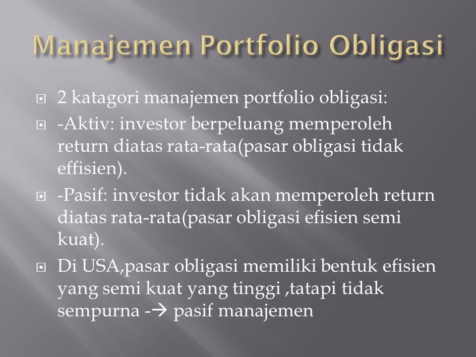  2 katagori manajemen portfolio obligasi:  -Aktiv: investor berpeluang memperoleh return diatas rata-rata(pasar obligasi tidak effisien).  -Pasif: