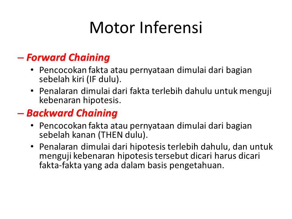 Motor Inferensi – Forward Chaining Pencocokan fakta atau pernyataan dimulai dari bagian sebelah kiri (IF dulu). Penalaran dimulai dari fakta terlebih