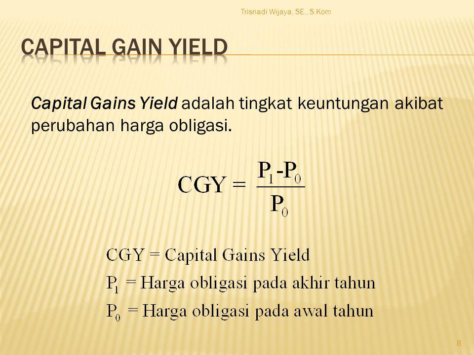 Trisnadi Wijaya, SE., S.Kom 8 Capital Gains Yield adalah tingkat keuntungan akibat perubahan harga obligasi.