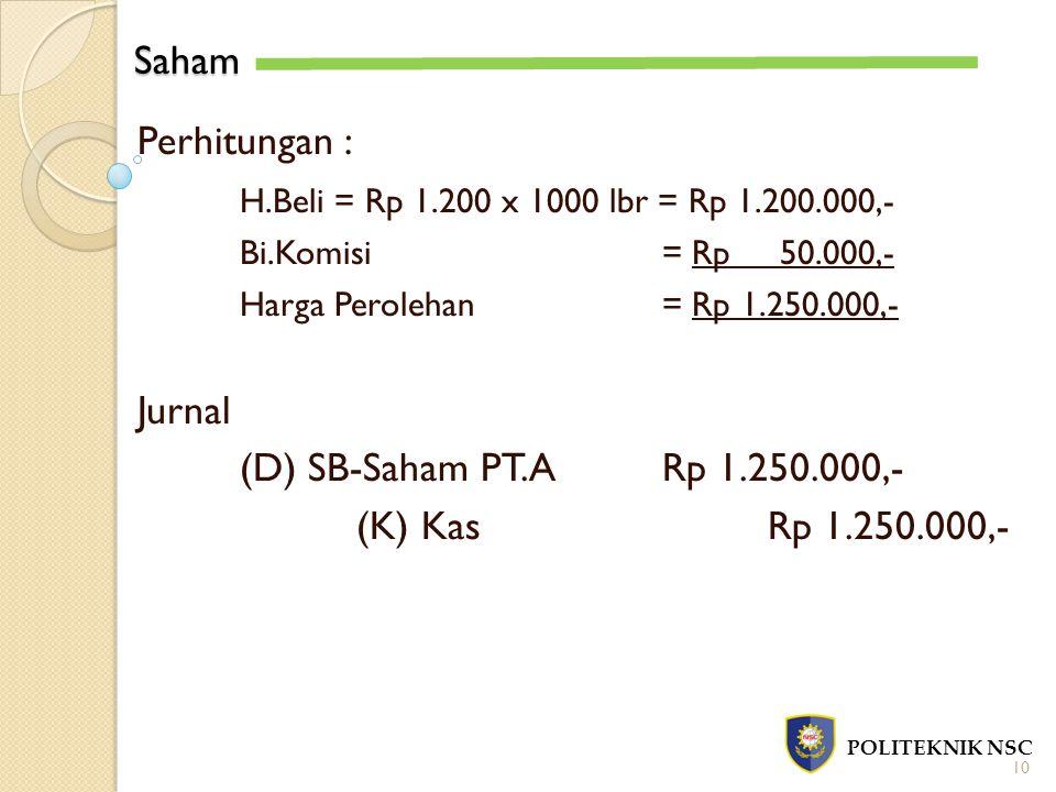 Saham POLITEKNIK NSC 10 Perhitungan : H.Beli = Rp 1.200 x 1000 lbr = Rp 1.200.000,- Bi.Komisi = Rp 50.000,- Harga Perolehan= Rp 1.250.000,- Jurnal (D) SB-Saham PT.A Rp 1.250.000,- (K) KasRp 1.250.000,-