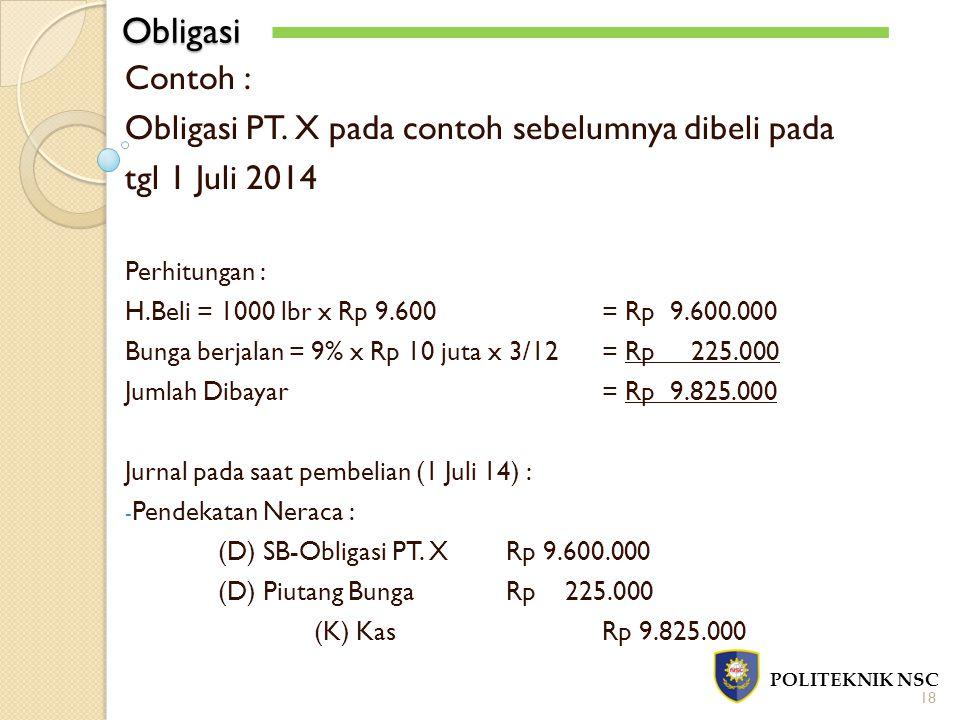 Obligasi POLITEKNIK NSC 18 Contoh : Obligasi PT. X pada contoh sebelumnya dibeli pada tgl 1 Juli 2014 Perhitungan : H.Beli = 1000 lbr x Rp 9.600= Rp 9