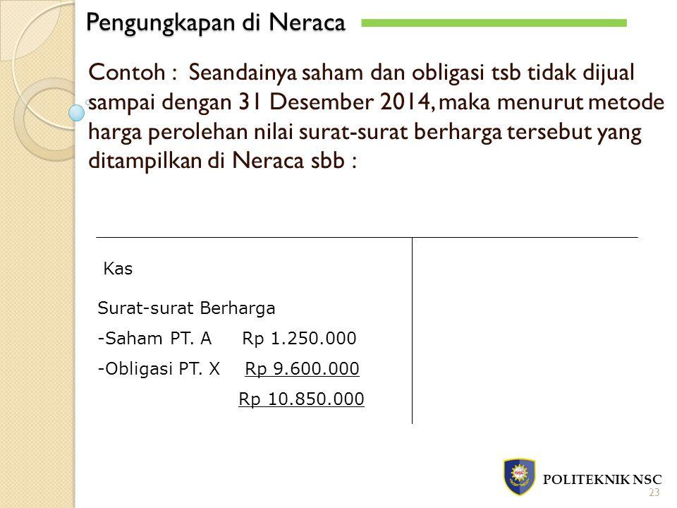 Pengungkapan di Neraca POLITEKNIK NSC 23 Contoh : Seandainya saham dan obligasi tsb tidak dijual sampai dengan 31 Desember 2014, maka menurut metode harga perolehan nilai surat-surat berharga tersebut yang ditampilkan di Neraca sbb : Kas Surat-surat Berharga -Saham PT.