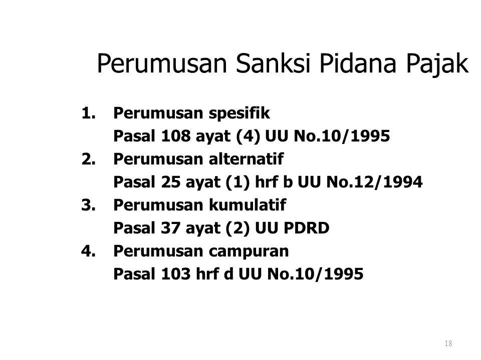 Perumusan Sanksi Pidana Pajak 1.Perumusan spesifik Pasal 108 ayat (4) UU No.10/1995 2.Perumusan alternatif Pasal 25 ayat (1) hrf b UU No.12/1994 3.Per