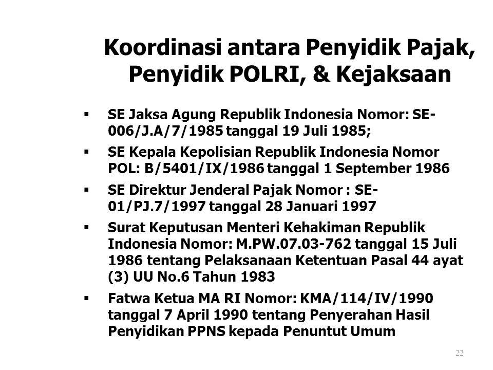 22 Koordinasi antara Penyidik Pajak, Penyidik POLRI, & Kejaksaan  SE Jaksa Agung Republik Indonesia Nomor: SE- 006/J.A/7/1985 tanggal 19 Juli 1985; 