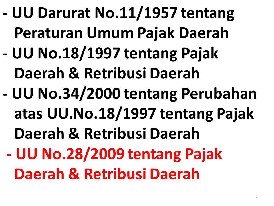 7 - UU Darurat No.11/1957 tentang Peraturan Umum Pajak Daerah - UU No.18/1997 tentang Pajak Daerah & Retribusi Daerah - UU No.34/2000 tentang Perubaha