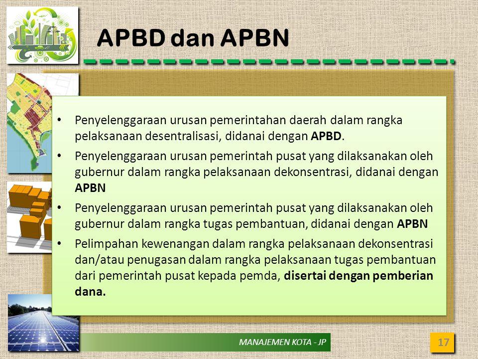 MANAJEMEN KOTA - JP APBD dan APBN 17 Penyelenggaraan urusan pemerintahan daerah dalam rangka pelaksanaan desentralisasi, didanai dengan APBD. Penyelen