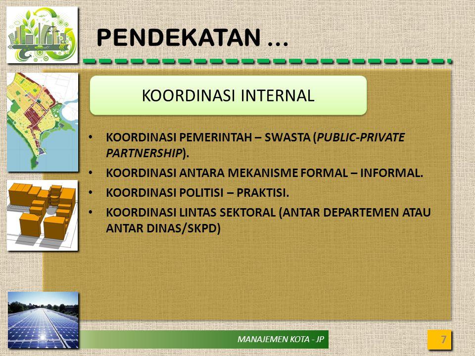 MANAJEMEN KOTA - JP PENDEKATAN … 7 KOORDINASI INTERNAL KOORDINASI PEMERINTAH – SWASTA (PUBLIC-PRIVATE PARTNERSHIP). KOORDINASI ANTARA MEKANISME FORMAL