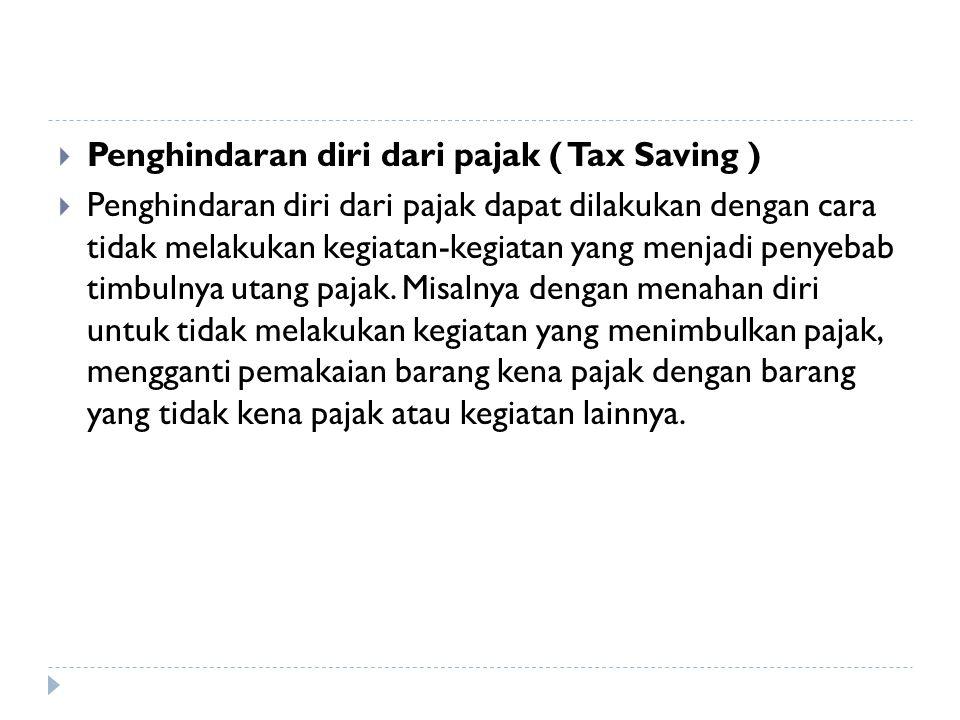  Tax avoidance  yaitu usaha untuk menghindar atu meringankan pajak dengan tidak melanggar Undang undang