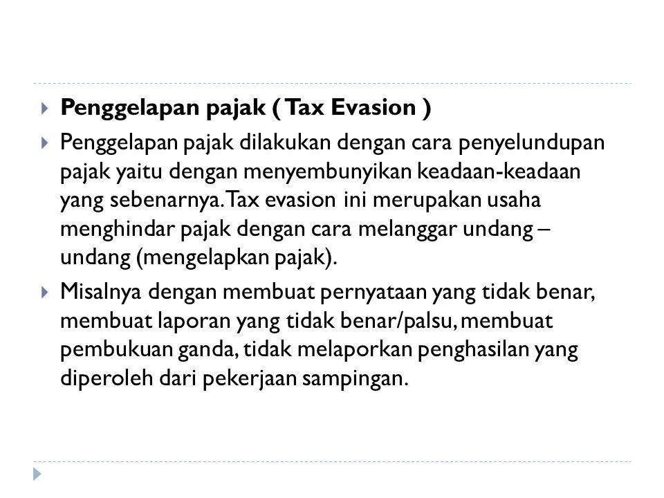  Penghindaran diri dari pajak ( Tax Saving )  Penghindaran diri dari pajak dapat dilakukan dengan cara tidak melakukan kegiatan-kegiatan yang menjad