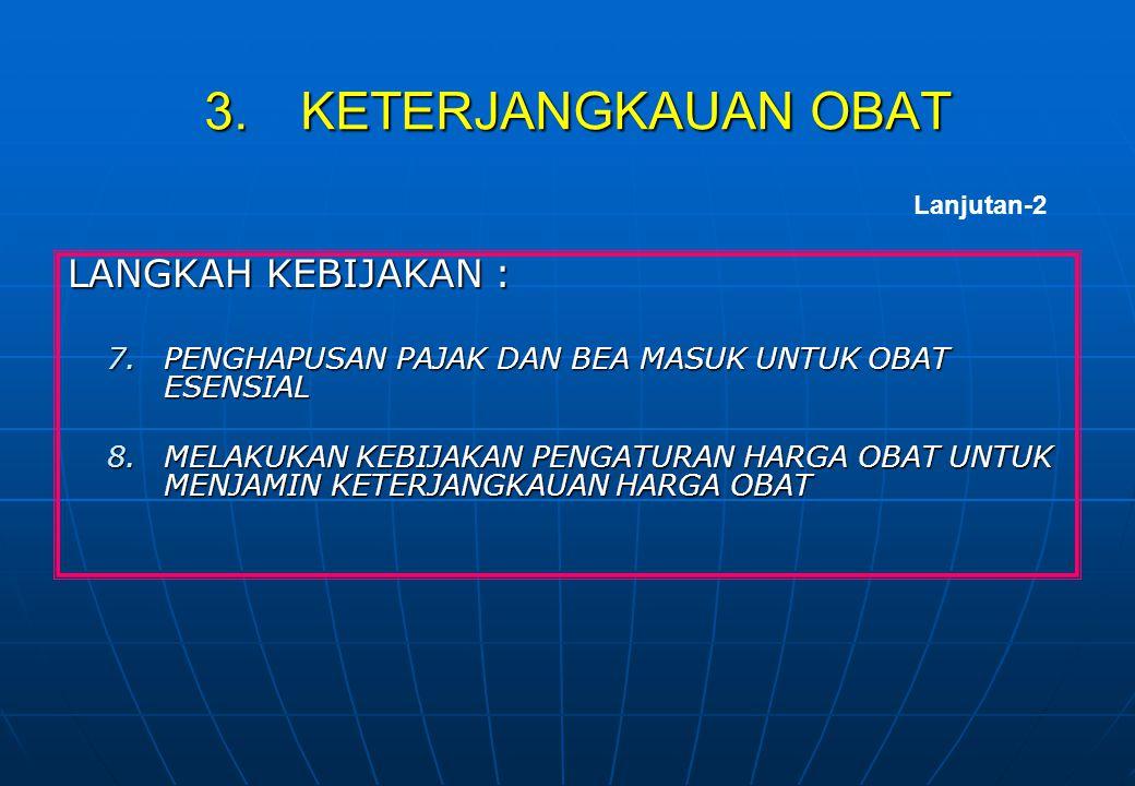 LANGKAH KEBIJAKAN : 7.PENGHAPUSAN PAJAK DAN BEA MASUK UNTUK OBAT ESENSIAL 8.MELAKUKAN KEBIJAKAN PENGATURAN HARGA OBAT UNTUK MENJAMIN KETERJANGKAUAN HA
