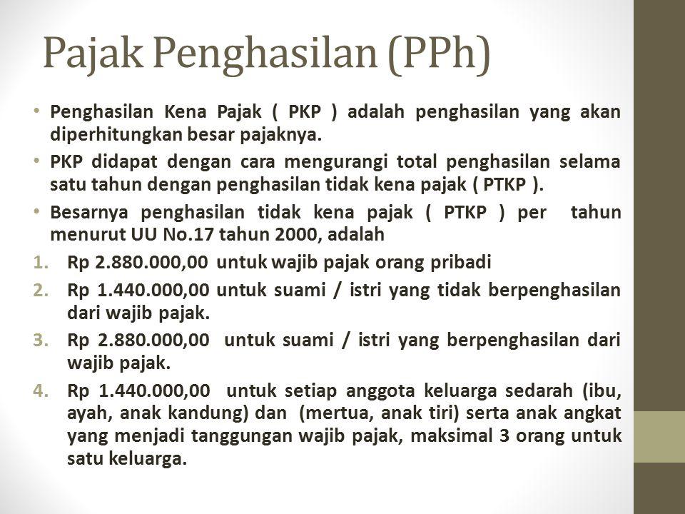 Pajak Penghasilan (PPh) Penghasilan Kena Pajak ( PKP ) adalah penghasilan yang akan diperhitungkan besar pajaknya. PKP didapat dengan cara mengurangi
