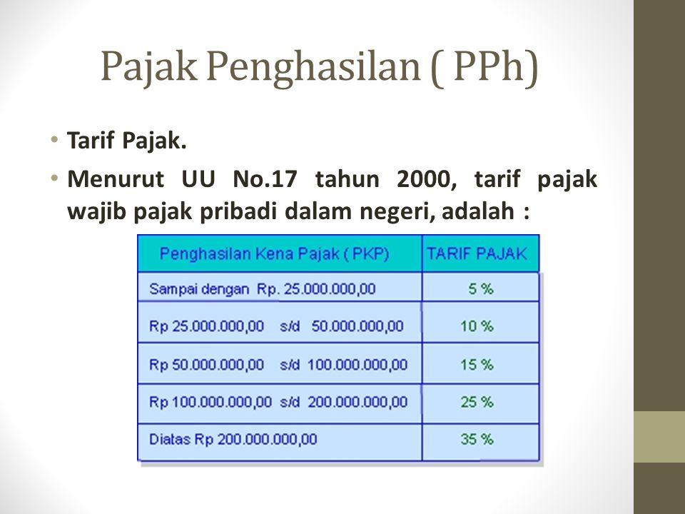 Pajak Penghasilan ( PPh) Tarif Pajak. Menurut UU No.17 tahun 2000, tarif pajak wajib pajak pribadi dalam negeri, adalah :