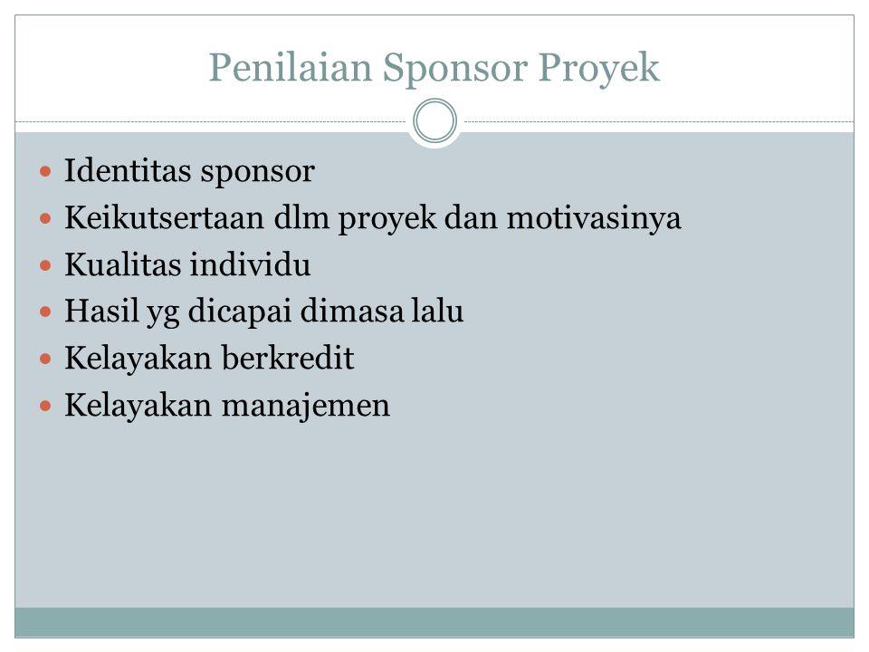 Penilaian Sponsor Proyek Identitas sponsor Keikutsertaan dlm proyek dan motivasinya Kualitas individu Hasil yg dicapai dimasa lalu Kelayakan berkredit Kelayakan manajemen