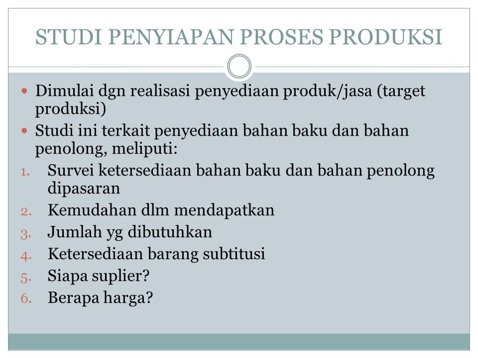 STUDI PENYIAPAN PROSES PRODUKSI Dimulai dgn realisasi penyediaan produk/jasa (target produksi) Studi ini terkait penyediaan bahan baku dan bahan penolong, meliputi: 1.