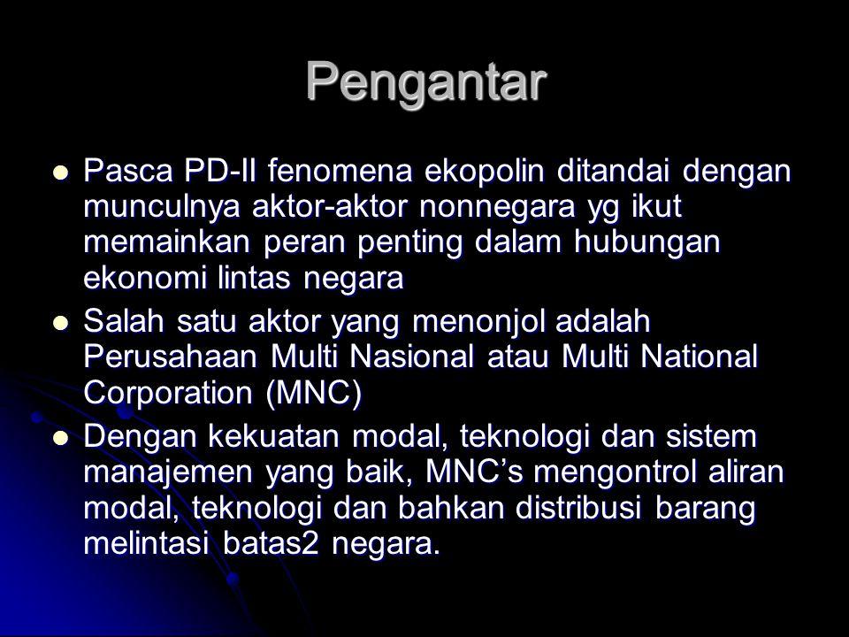 Pengantar Pasca PD-II fenomena ekopolin ditandai dengan munculnya aktor-aktor nonnegara yg ikut memainkan peran penting dalam hubungan ekonomi lintas