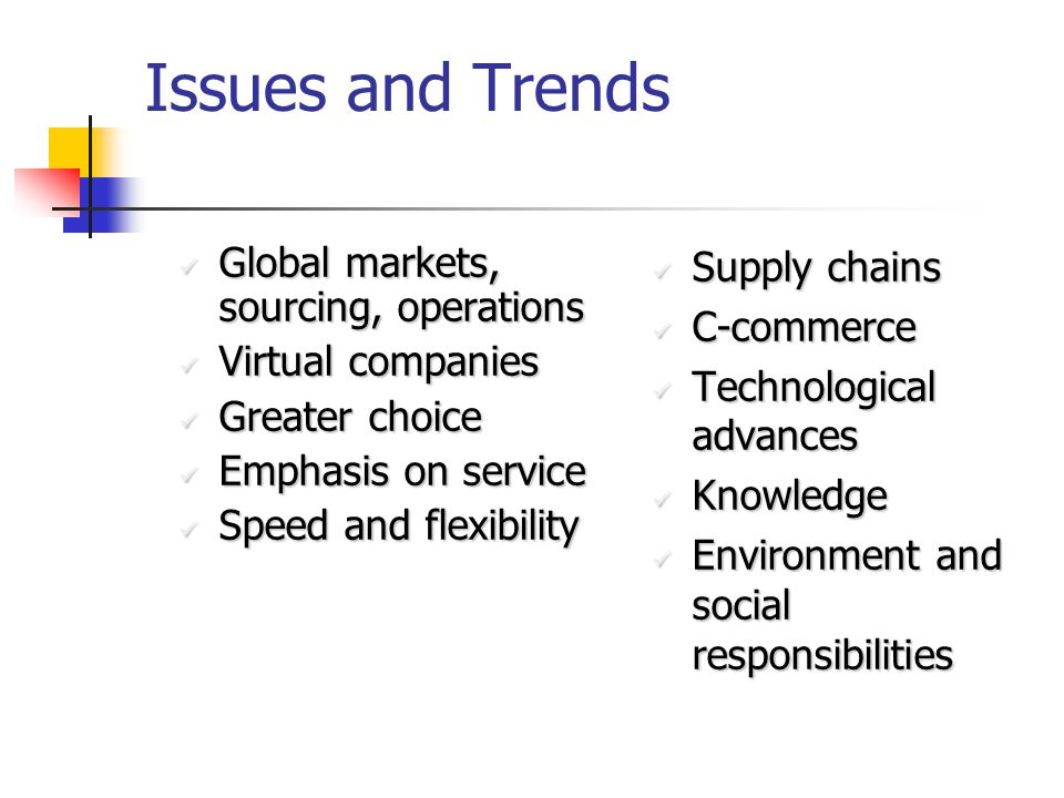 Issues and Trends Global markets, sourcing, operations Global markets, sourcing, operations Virtual companies Virtual companies Greater choice Greater choice Emphasis on service Emphasis on service Speed and flexibility Speed and flexibility Supply chains Supply chains C-commerce C-commerce Technological advances Technological advances Knowledge Knowledge Environment and social responsibilities Environment and social responsibilities