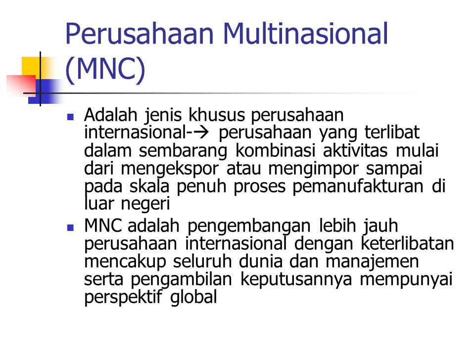 Karakteristik MNC (Dymza, 1972) Pembuat keputusan selalu mempertimbangkan kesempatan yg ada secara global Sejumlah aset MNC diinvestasi secara internasional Bergerak dalam produksi internasional & mengoperasikan beberapa pabrik di beberapa negara Pengambilan keputusan manajerial didasarkan pd perspektif yg meliputi seluruh dunia