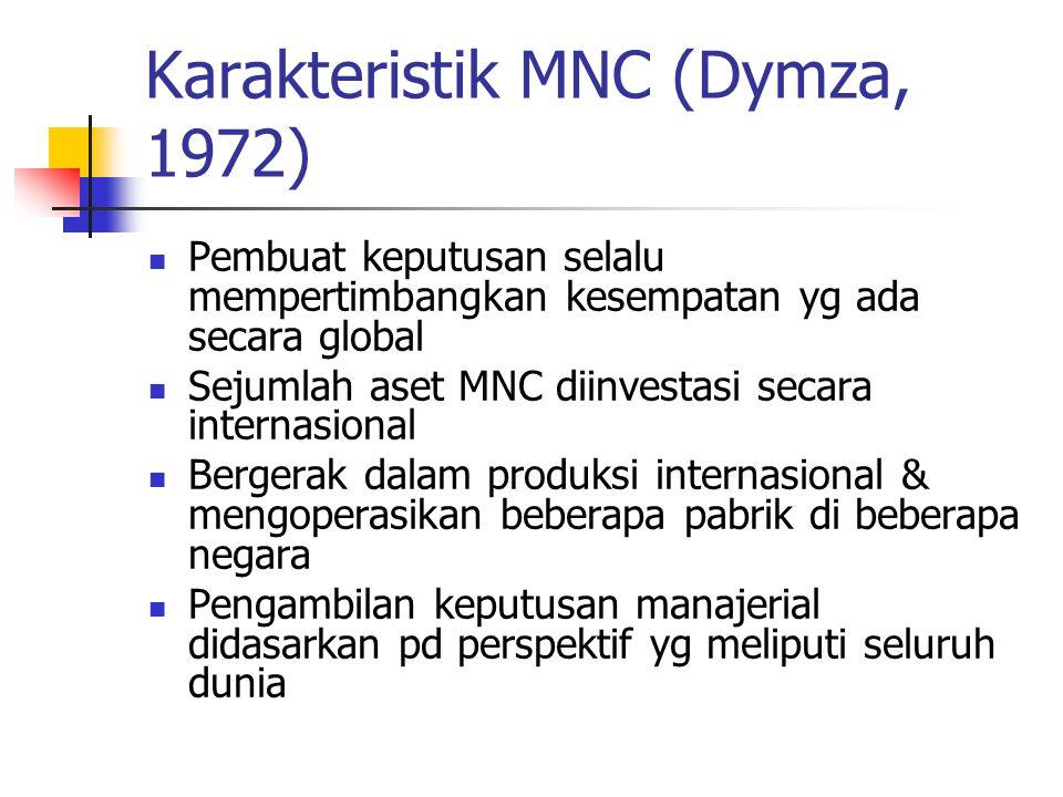 Karakteristik MNC (Dymza, 1972) Pembuat keputusan selalu mempertimbangkan kesempatan yg ada secara global Sejumlah aset MNC diinvestasi secara interna