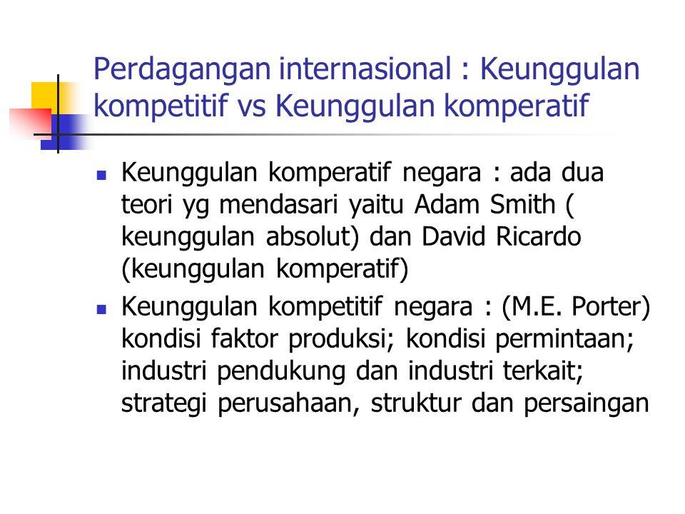 Perdagangan internasional : Keunggulan kompetitif vs Keunggulan komperatif Keunggulan komperatif negara : ada dua teori yg mendasari yaitu Adam Smith
