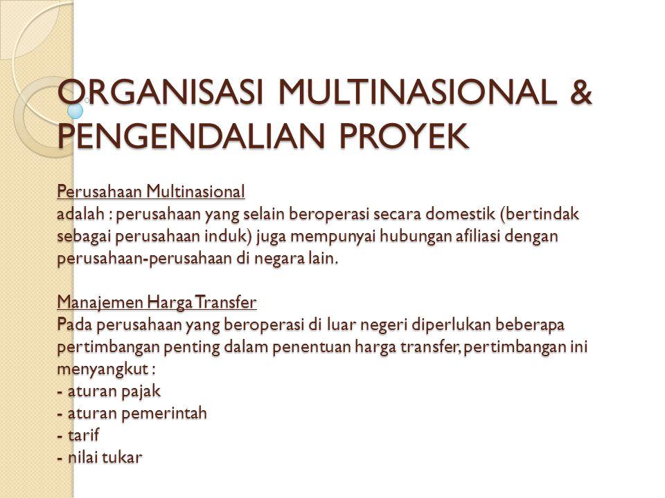 ORGANISASI MULTINASIONAL & PENGENDALIAN PROYEK Perusahaan Multinasional adalah : perusahaan yang selain beroperasi secara domestik (bertindak sebagai