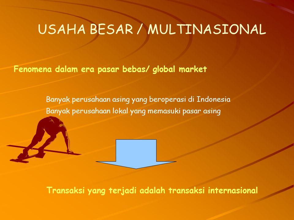 Fenomena dalam era pasar bebas/ global market USAHA BESAR / MULTINASIONAL Banyak perusahaan asing yang beroperasi di Indonesia Banyak perusahaan lokal