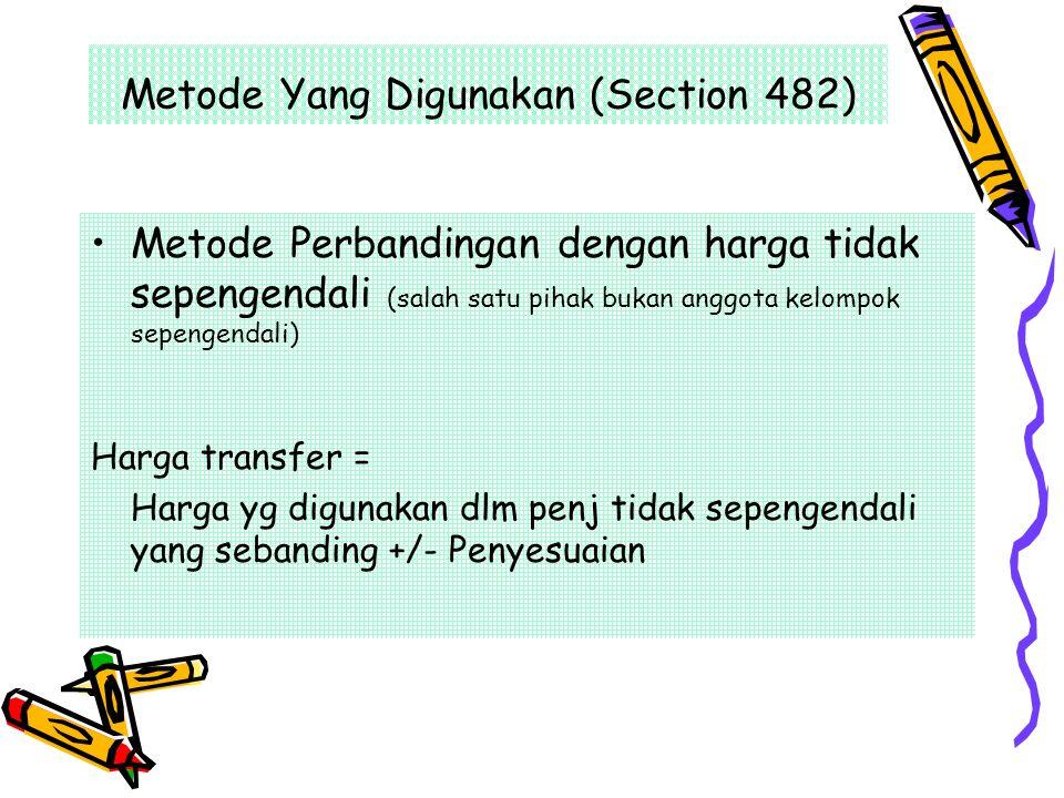 Metode Yang Digunakan (Section 482) Metode Perbandingan dengan harga tidak sepengendali (salah satu pihak bukan anggota kelompok sepengendali) Harga t