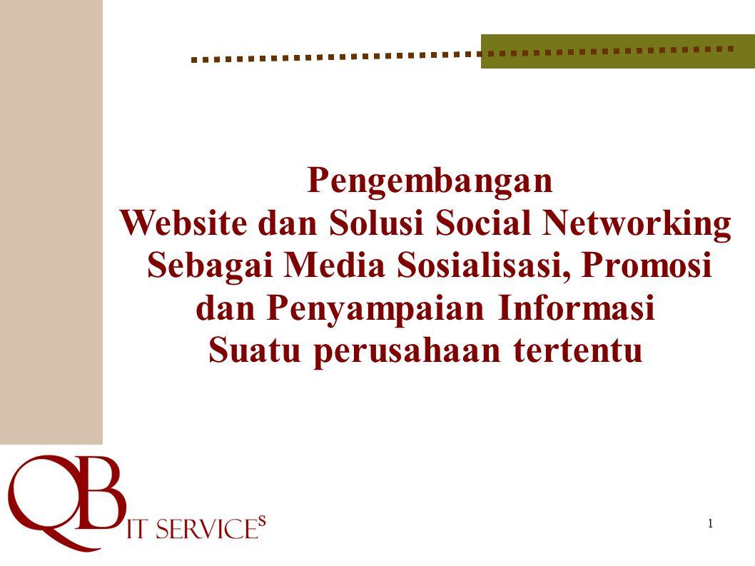 1 Pengembangan Website dan Solusi Social Networking Sebagai Media Sosialisasi, Promosi dan Penyampaian Informasi Suatu perusahaan tertentu