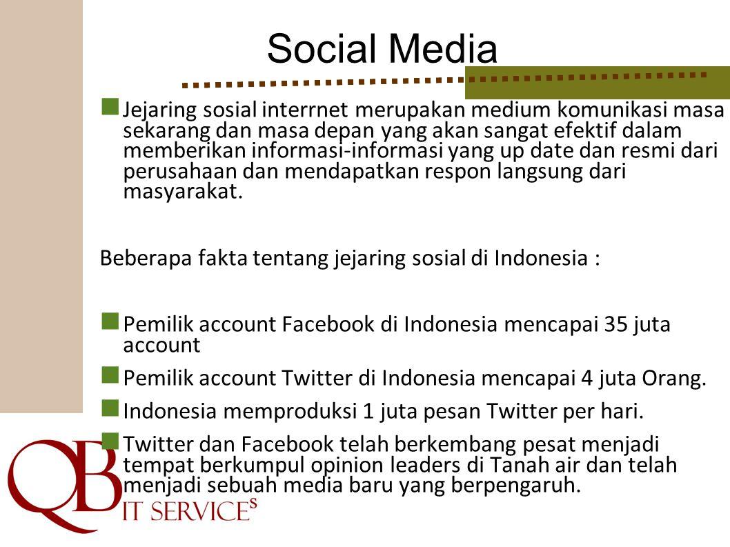 Social Media Jejaring sosial interrnet merupakan medium komunikasi masa sekarang dan masa depan yang akan sangat efektif dalam memberikan informasi-in