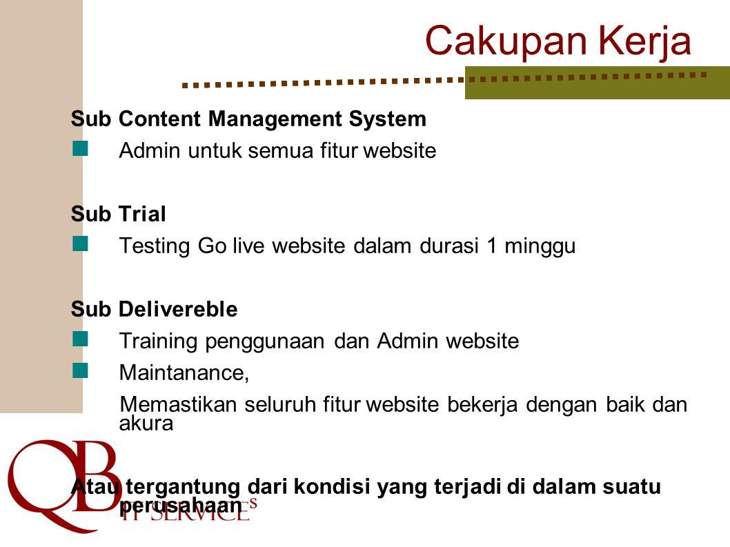 Cakupan Kerja Sub Content Management System Admin untuk semua fitur website Sub Trial Testing Go live website dalam durasi 1 minggu Sub Delivereble Tr