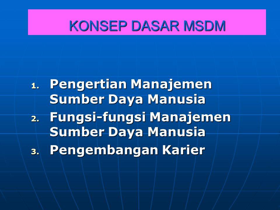 KONSEP DASAR MSDM 1. P engertian Manajemen Sumber Daya Manusia 2. F ungsi-fungsi Manajemen Sumber Daya Manusia 3. P engembangan Karier
