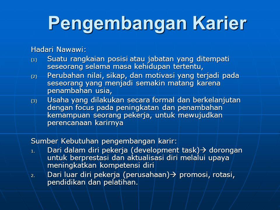 Pengembangan Karier Hadari Nawawi: (1) Suatu rangkaian posisi atau jabatan yang ditempati seseorang selama masa kehidupan tertentu, (2) Perubahan nila