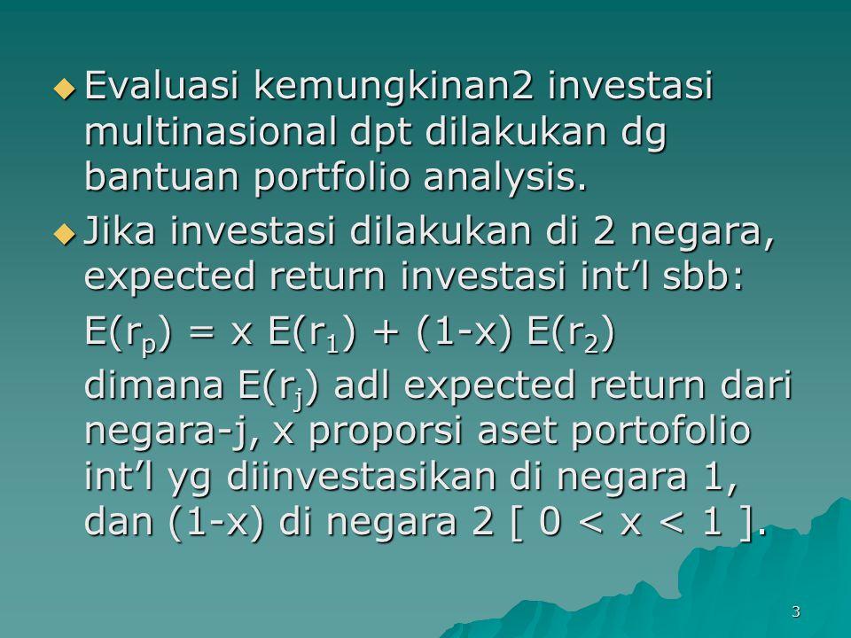 3  Evaluasi kemungkinan2 investasi multinasional dpt dilakukan dg bantuan portfolio analysis.