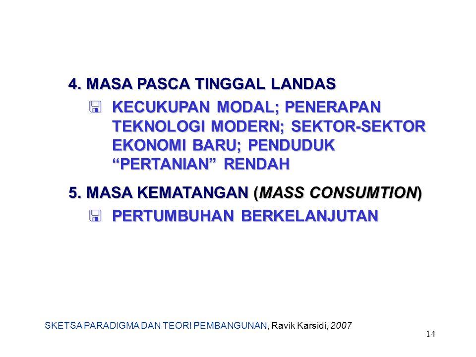 SKETSA PARADIGMA DAN TEORI PEMBANGUNAN, Ravik Karsidi, 2007 14 4.MASA PASCA TINGGAL LANDAS  KECUKUPAN MODAL; PENERAPAN TEKNOLOGI MODERN; SEKTOR-SEKTO