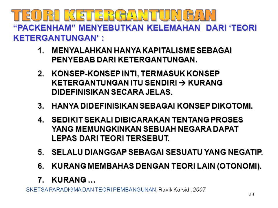 """SKETSA PARADIGMA DAN TEORI PEMBANGUNAN, Ravik Karsidi, 2007 23 """"PACKENHAM"""" MENYEBUTKAN KELEMAHAN DARI 'TEORI KETERGANTUNGAN' : 1.MENYALAHKAN HANYA KAP"""