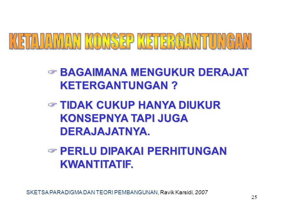 SKETSA PARADIGMA DAN TEORI PEMBANGUNAN, Ravik Karsidi, 2007 25  BAGAIMANA MENGUKUR DERAJAT KETERGANTUNGAN ?  TIDAK CUKUP HANYA DIUKUR KONSEPNYA TAPI