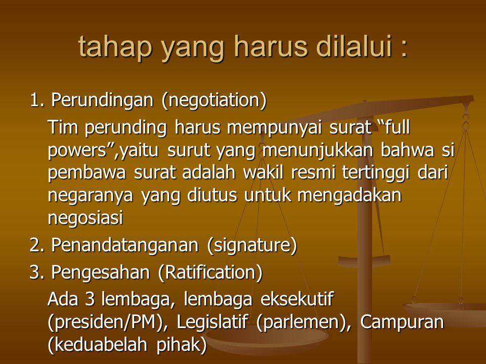 """tahap yang harus dilalui : 1. Perundingan (negotiation) Tim perunding harus mempunyai surat """"full powers"""",yaitu surut yang menunjukkan bahwa si pembaw"""