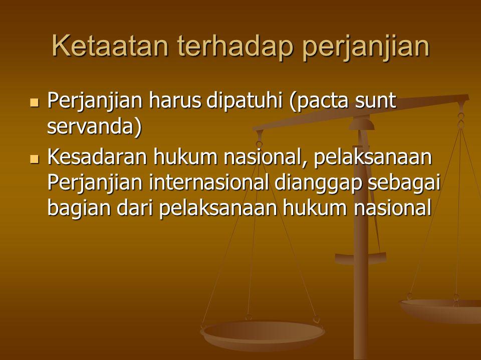 Ketaatan terhadap perjanjian Perjanjian harus dipatuhi (pacta sunt servanda) Perjanjian harus dipatuhi (pacta sunt servanda) Kesadaran hukum nasional,