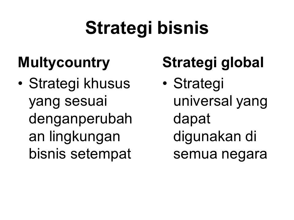 Strategi bisnis Multycountry Strategi khusus yang sesuai denganperubah an lingkungan bisnis setempat Strategi global Strategi universal yang dapat digunakan di semua negara