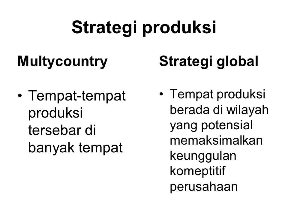 Strategi produksi Multycountry Tempat-tempat produksi tersebar di banyak tempat Strategi global Tempat produksi berada di wilayah yang potensial memaksimalkan keunggulan komeptitif perusahaan