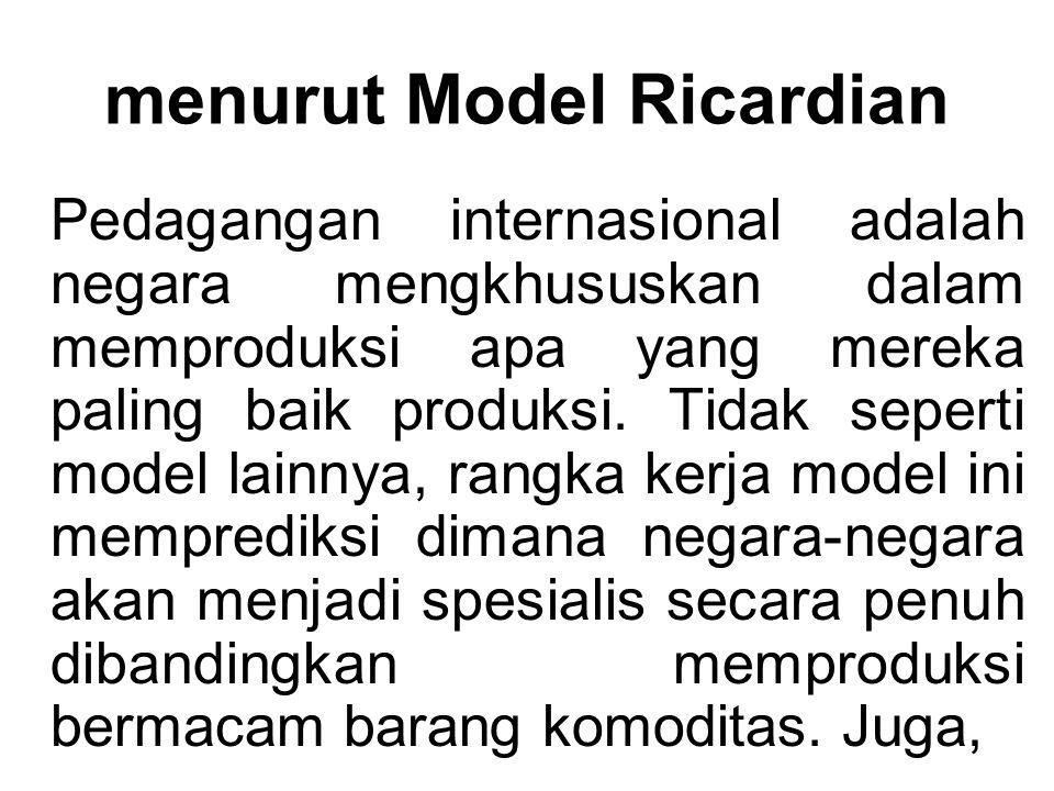 menurut Model Ricardian Pedagangan internasional adalah negara mengkhususkan dalam memproduksi apa yang mereka paling baik produksi.
