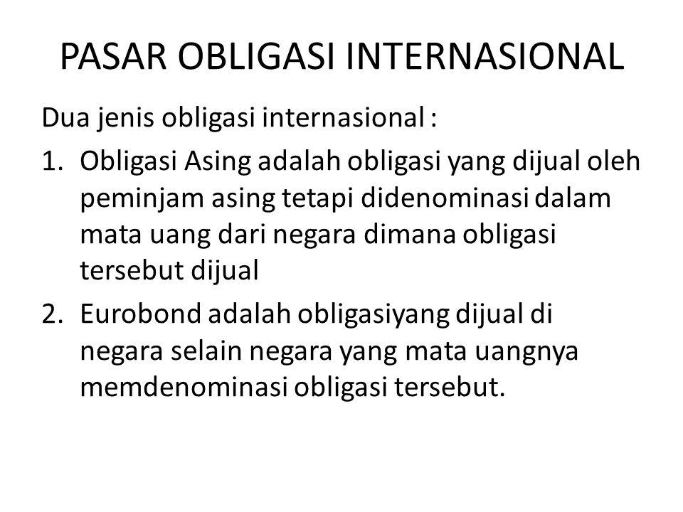 PASAR OBLIGASI INTERNASIONAL Dua jenis obligasi internasional : 1.Obligasi Asing adalah obligasi yang dijual oleh peminjam asing tetapi didenominasi d